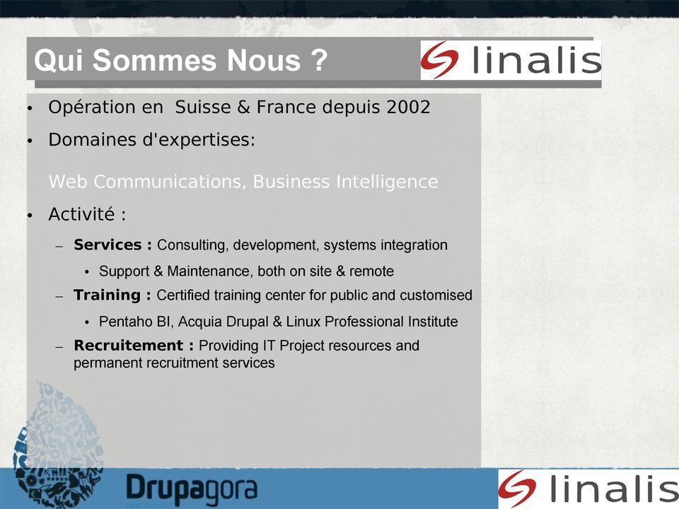 Activité : Services : Consulting, development, systems integration Support & Maintenance, both on site & remote