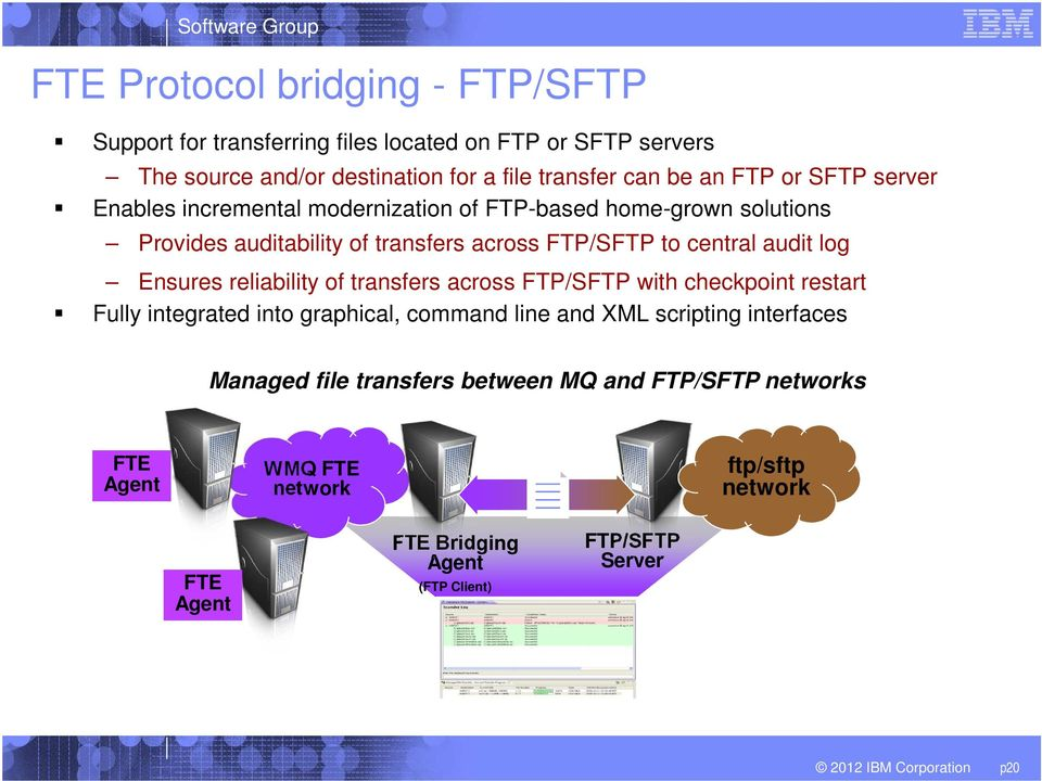 reliability of transfers across FTP/SFTP with checkpoint restart Fully integrated into graphical, command line and XML scripting interfaces Managed file transfers