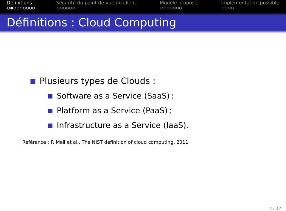 (PaaS) ; Infrastructure as a Service (IaaS). Référence : P.
