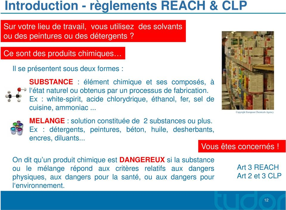 Ex : white-spirit, acide chlorydrique, éthanol, fer, sel de cuisine, ammoniac... Copyright European Chemicals Agency MELANGE :solution constituée de 2 substances ou plus.