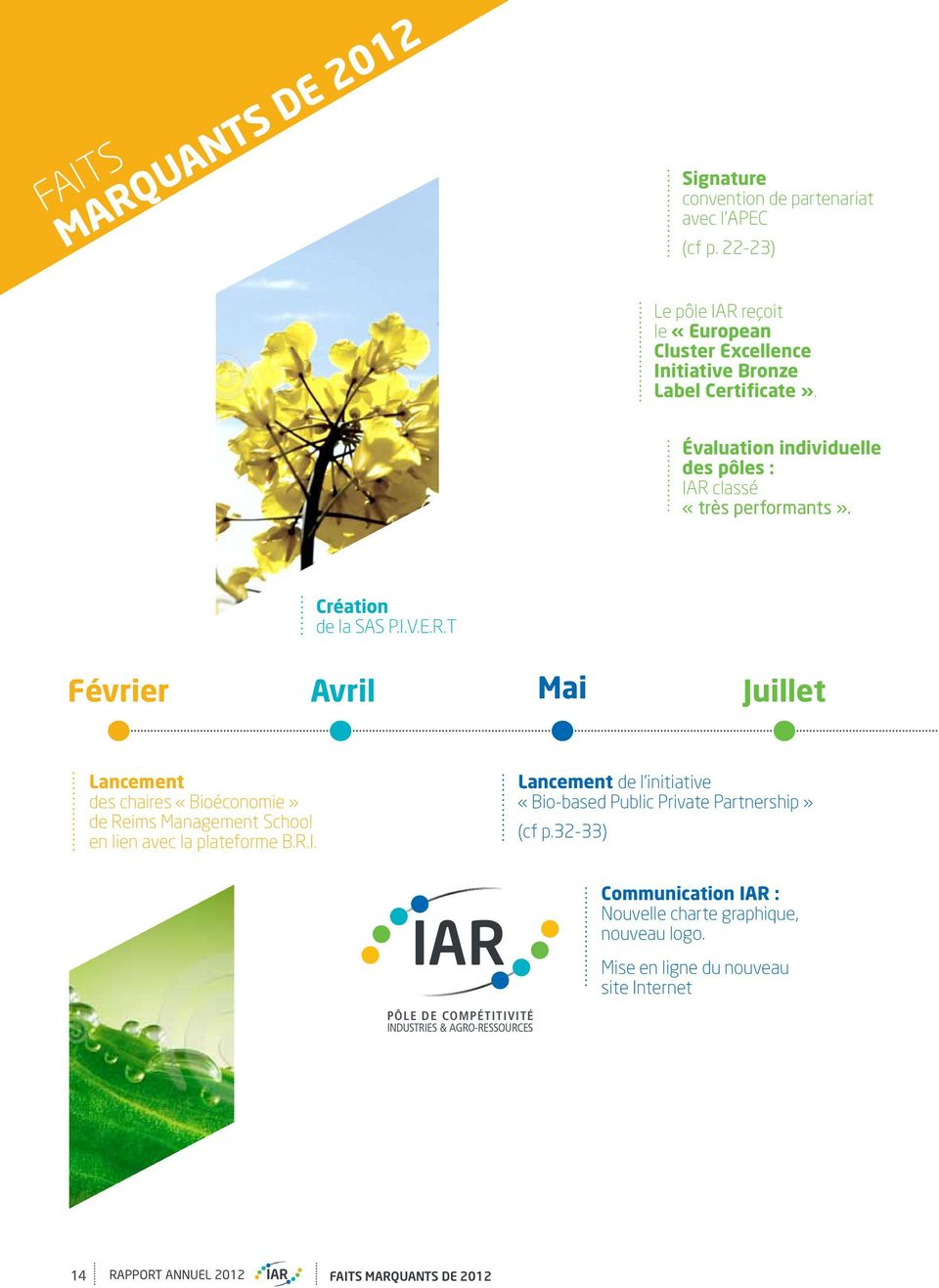 Création de la SAS P.I.V.E.R.T Février Avril Mai Juillet Lancement des chaires «Bioéconomie» de Reims Management School en lien avec la plateforme B.R.I. Lancement de l initiative «Bio-based Public Private Partnership» (cf p.