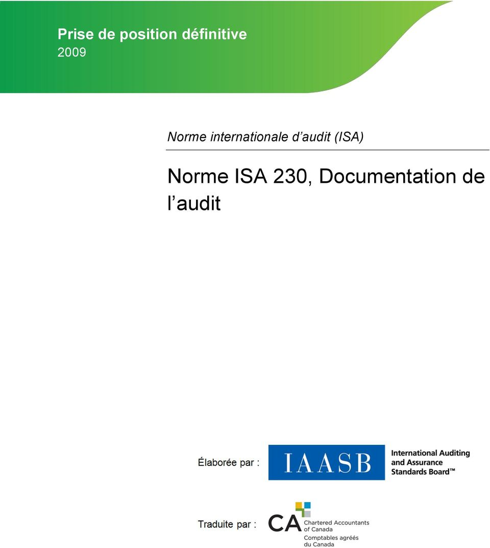 internationale d audit (ISA)