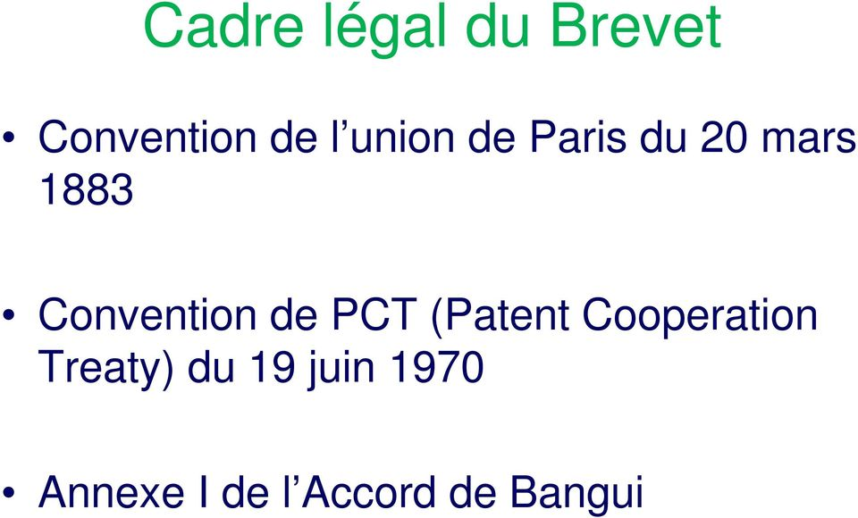 Convention de PCT (Patent Cooperation
