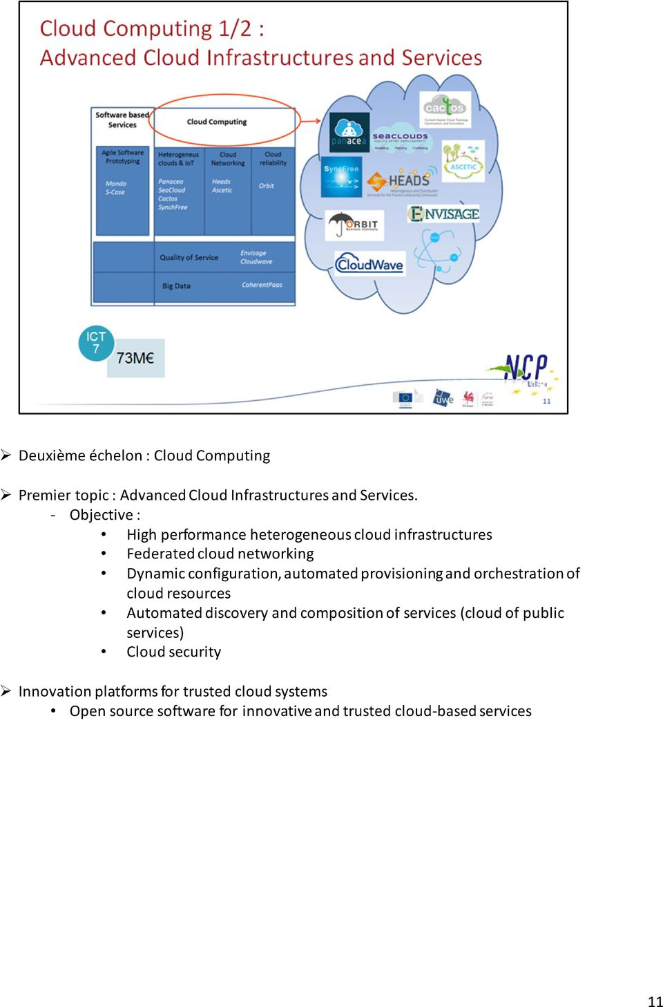 automated provisioning and orchestration of cloud resources Automated discovery and composition of services (cloud of