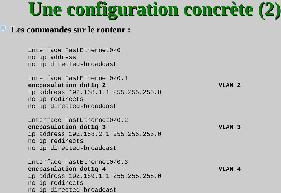 255.255.0 no ip redirects no ip directed-broadcast interface FastEthernet0/0.2 encpasulation dot1q 3 VLAN 3 ip address 192.168.2.1 255.