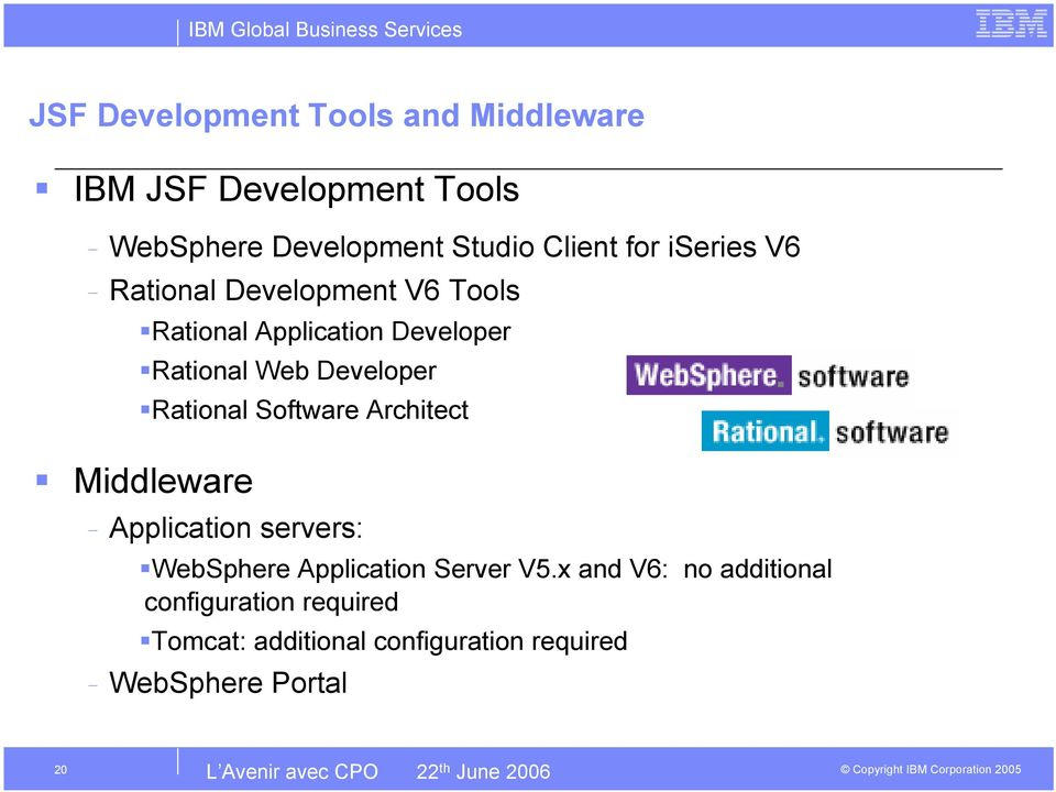 Rational Software Architect Middleware - Application servers: WebSphere Application Server V5.