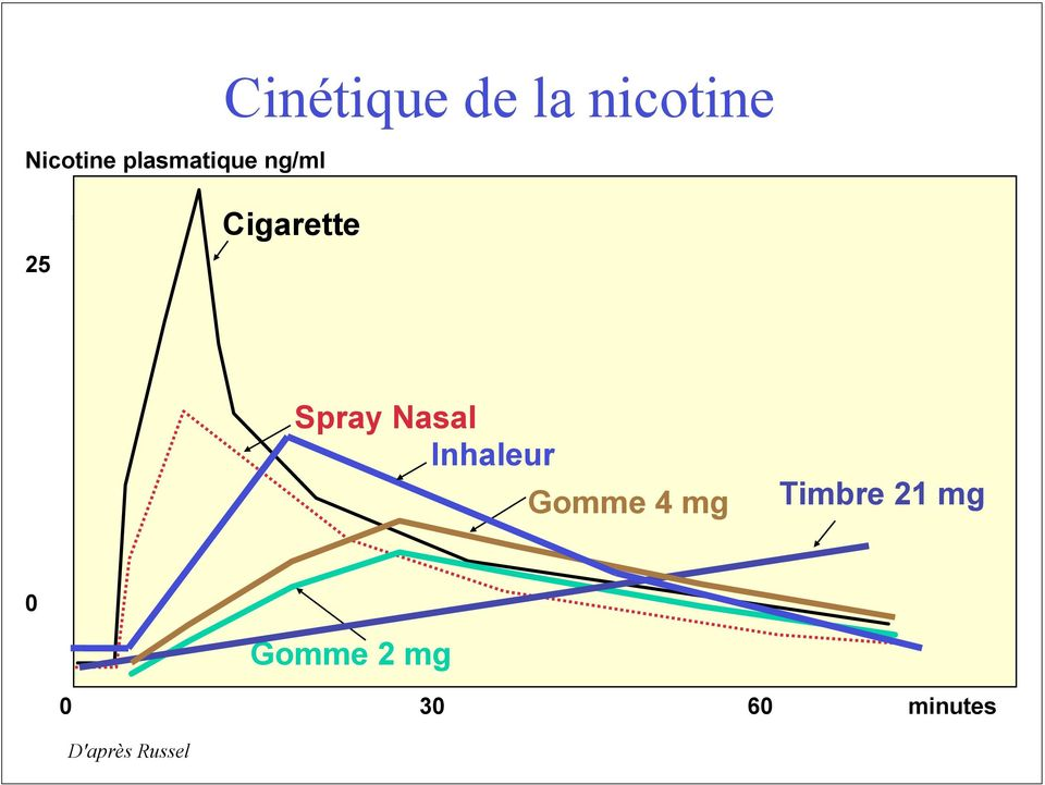 Nasal Inhaleur Gomme 4 mg Timbre 21 mg