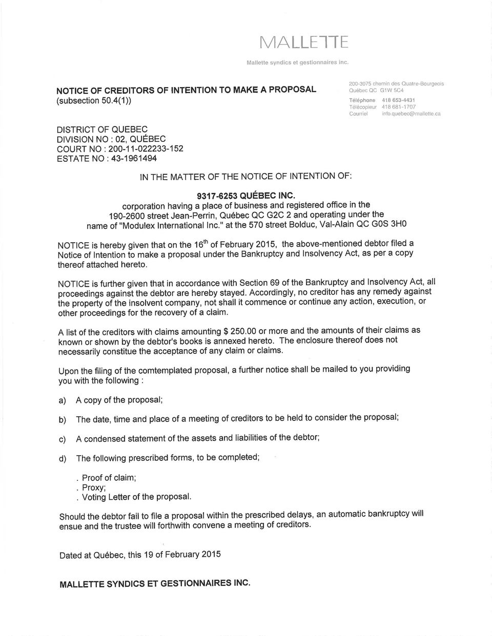 200-11-022233-152 ESTATE NO : 43-1 961494 IN THE MATTER OF THE NOTICE OF INTENTION OF: 9317-6253 QUÉBEC lnc.