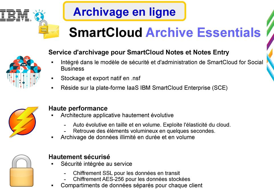 nsf Réside sur la plateforme IaaS IBM SmartCloud Enterprise (SCE) Haute performance Architecture applicative hautement évolutive Auto évolutive en taille et en volume.