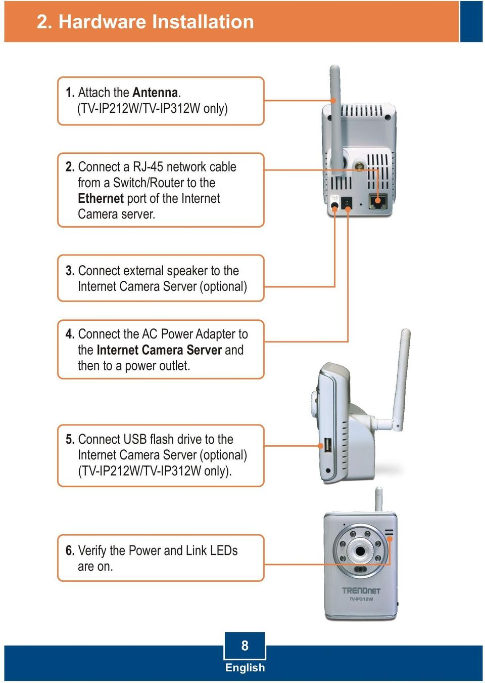 Connect external speaker to the Internet Camera Server (optional) 4.