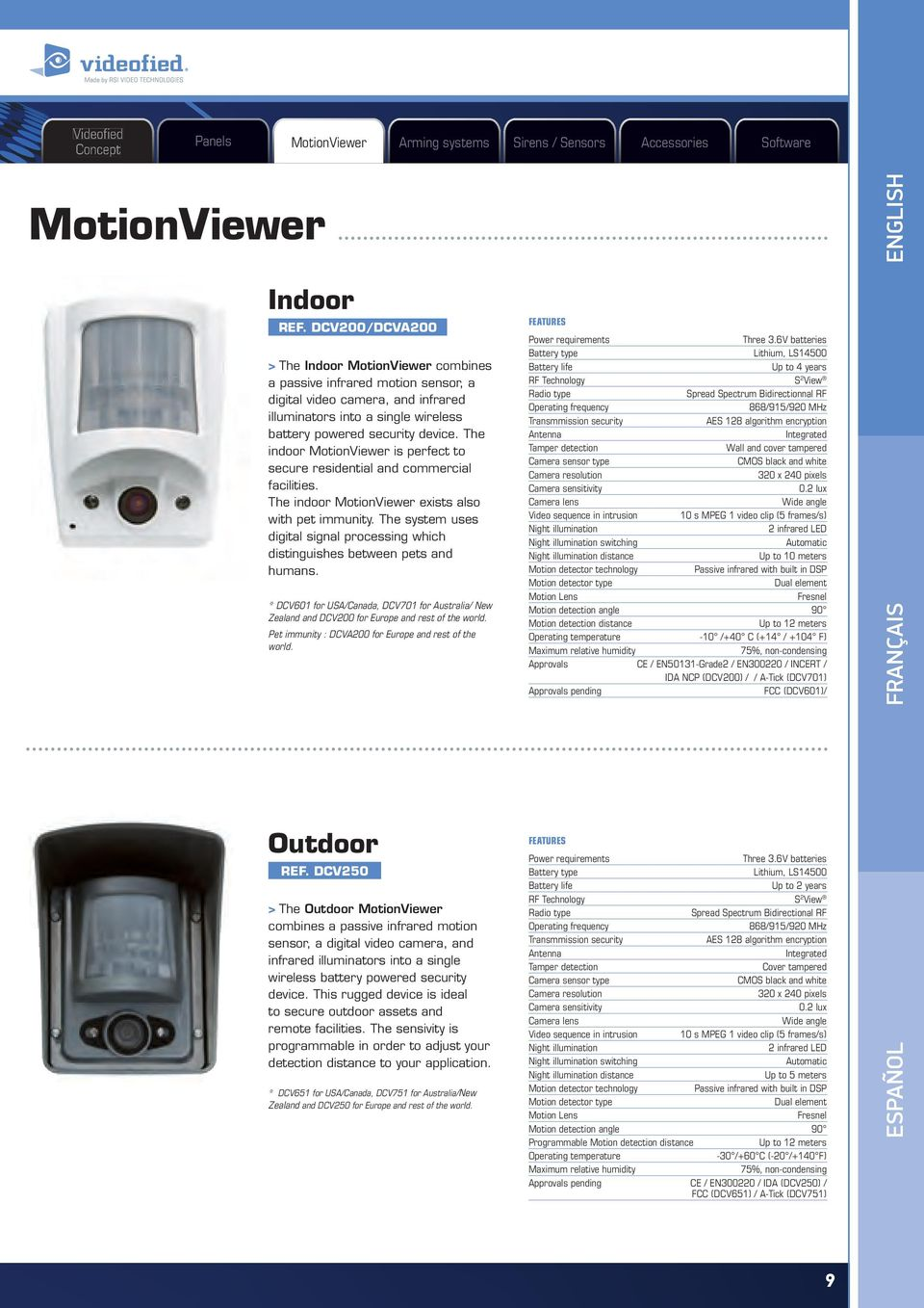 The indoor MotionViewer is perfect to secure residential and commercial facilities. The indoor MotionViewer exists also with pet immunity.