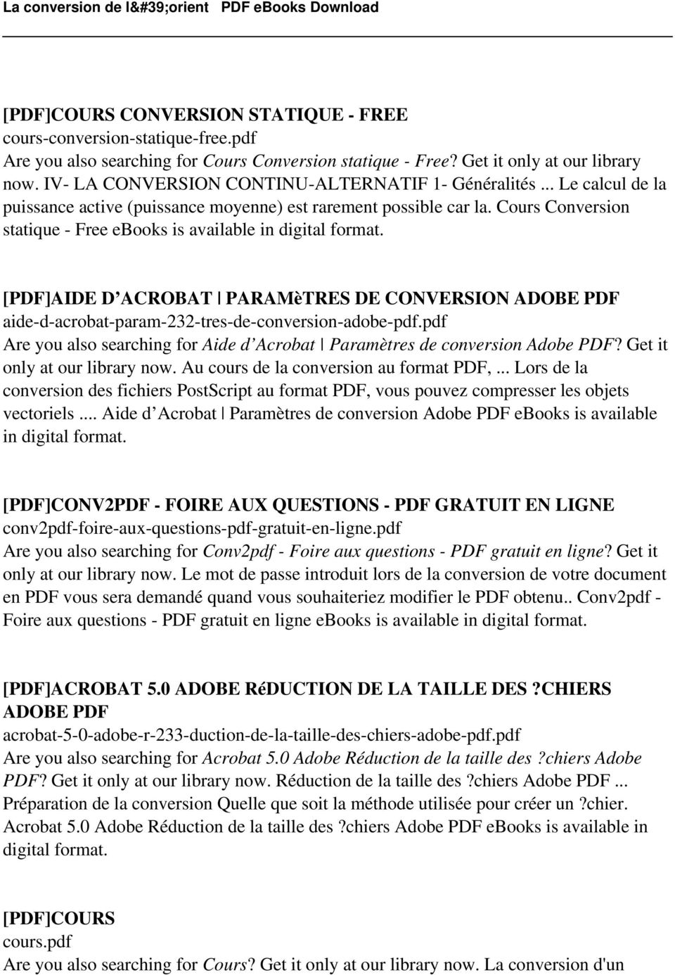 Cours Conversion statique - Free ebooks is [PDF]AIDE D ACROBAT PARAMèTRES DE CONVERSION ADOBE PDF aide-d-acrobat-param-232-tres-de-conversion-adobe-pdf.