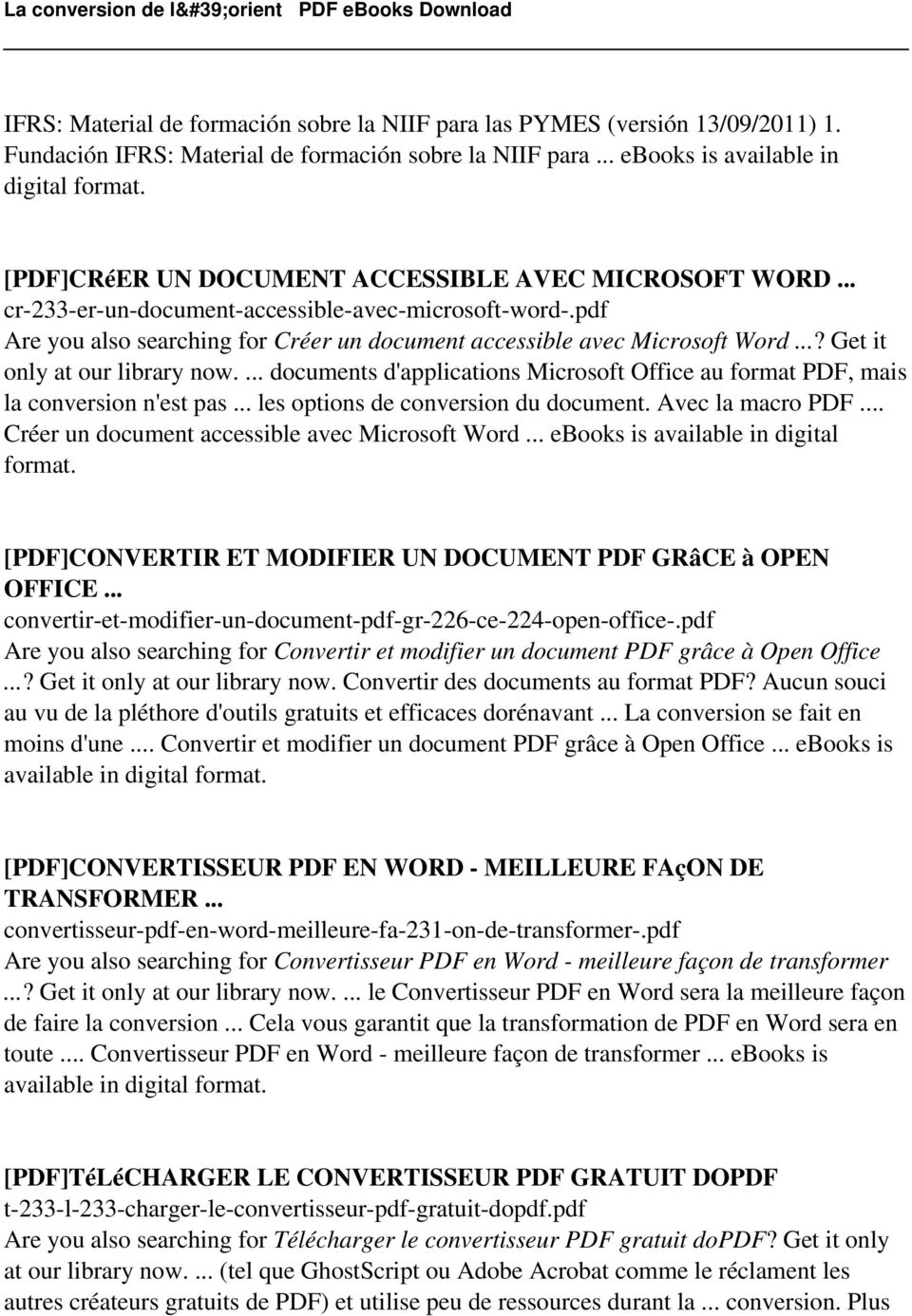 ..? Get it only at our library now.... documents d'applications Microsoft Office au format PDF, mais la conversion n'est pas... les options de conversion du document. Avec la macro PDF.