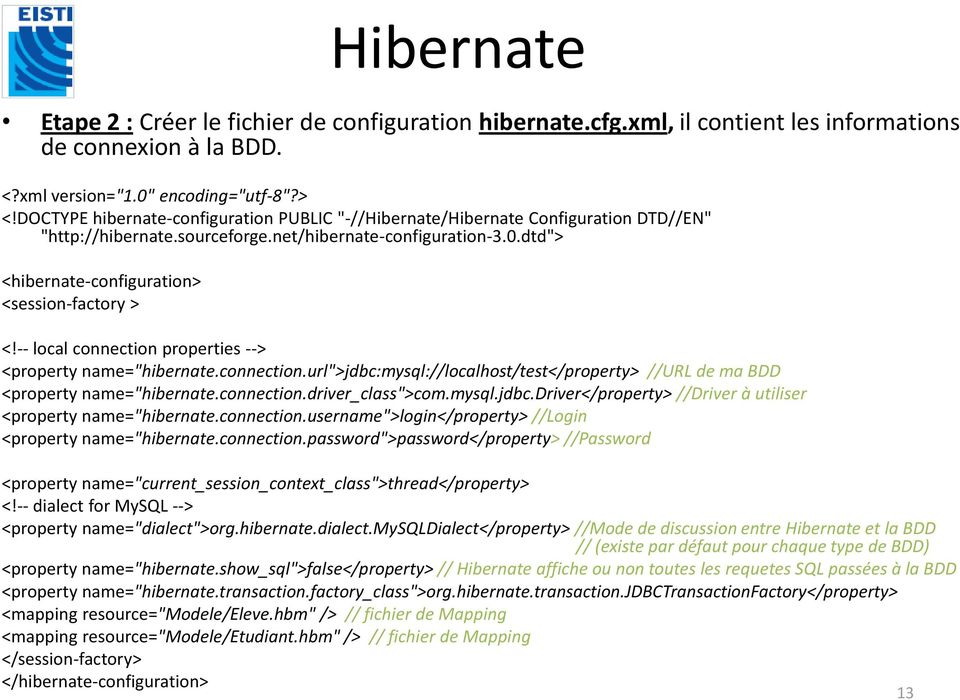 "dtd""> <hibernate-configuration> <session-factory > <!-- local connection properties --> <property name=""hibernate.connection.url"">jdbc:mysql://localhost/test</property> //URL de ma BDD <property name=""hibernate."