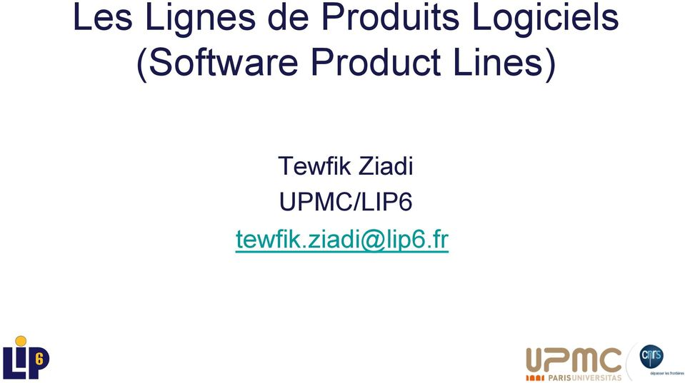 Product Lines) Tewfik