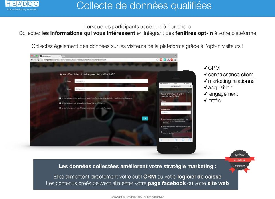 CRM connaissance client marketing relationnel acquisition engagement trafic Les données collectées améliorent votre stratégie marketing :
