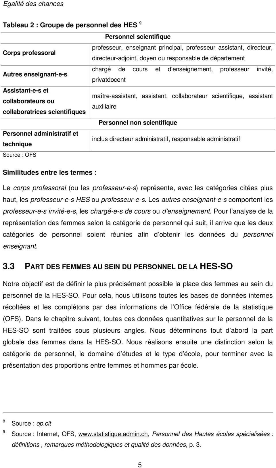 ou auxiliaire collaboratrices scientifiques Personnel non scientifique Personnel administratif et inclus directeur administratif, responsable administratif technique Source : OFS Similitudes entre