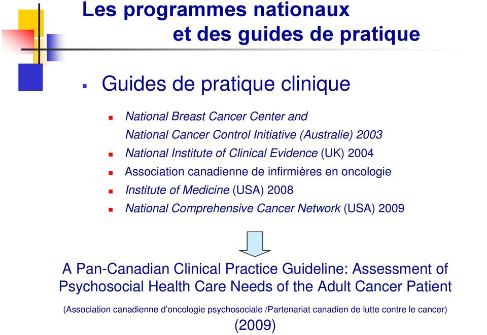 Medicine (USA) 2008 National Comprehensive Cancer Network (USA) 2009 A Pan-Canadian Clinical Practice Guideline: Assessment of Psychosocial