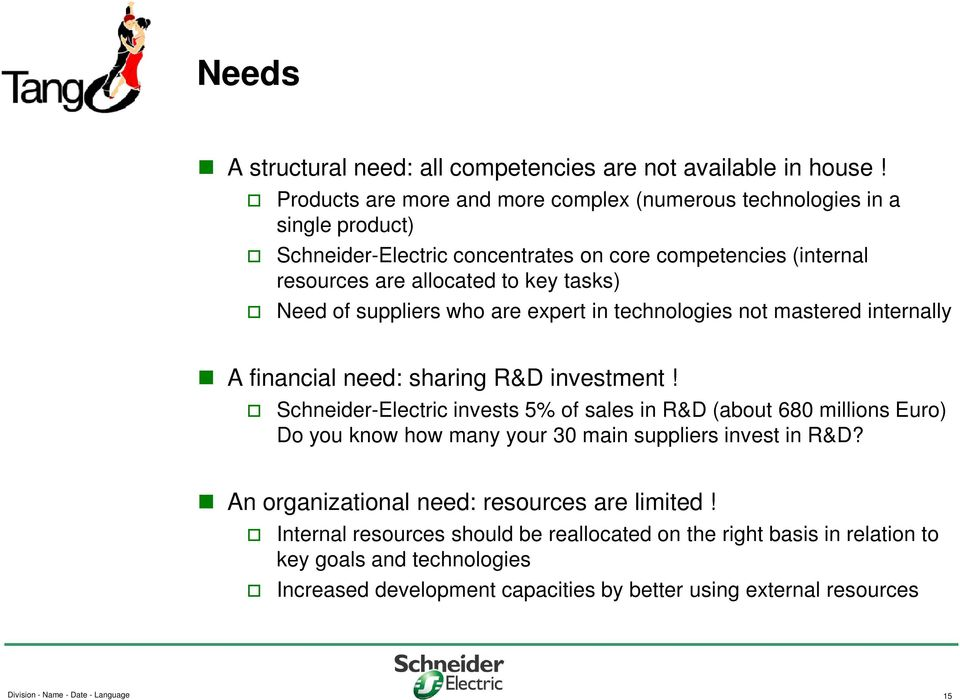 suppliers who are expert in technologies not mastered internally A financial need: sharing R&D investment!