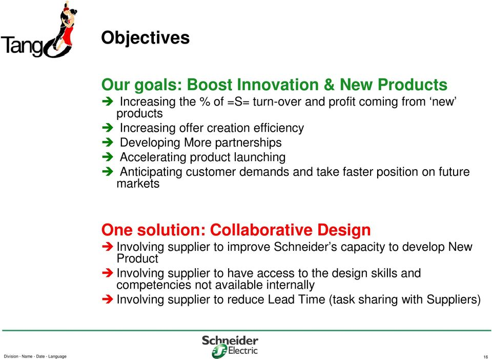 solution: Collaborative Design Involving supplier to improve Schneider s capacity to develop New Product Involving supplier to have access to the