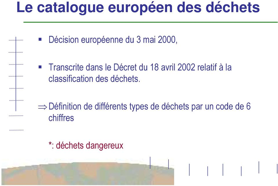 à la classification des déchets.