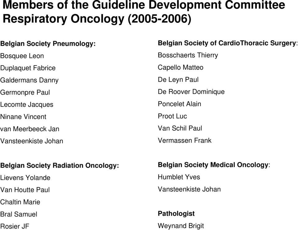 Thierry Capello Matteo De Leyn Paul De Roover Dominique Poncelet Alain Proot Luc Van Schil Paul Vermassen Frank Belgian Society Radiation Oncology:
