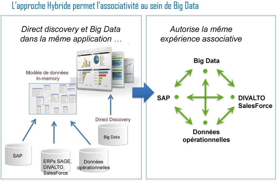 Data Modèle de données In-memory SAP DIVALTO SalesForce Direct Discovery Big