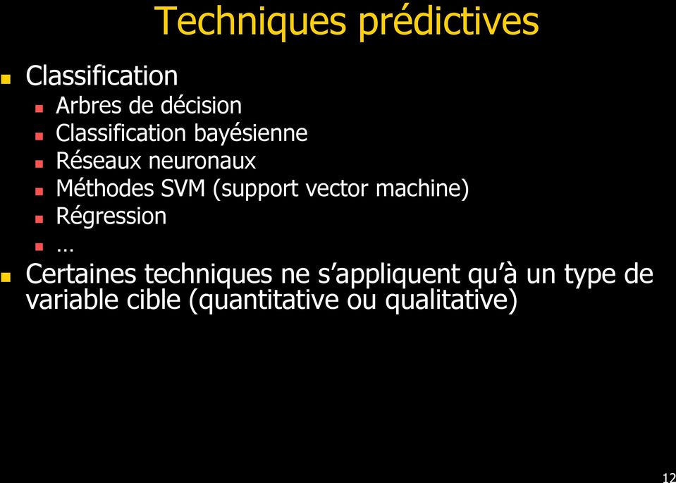 (support vector machine) Régression Certaines techniques ne s