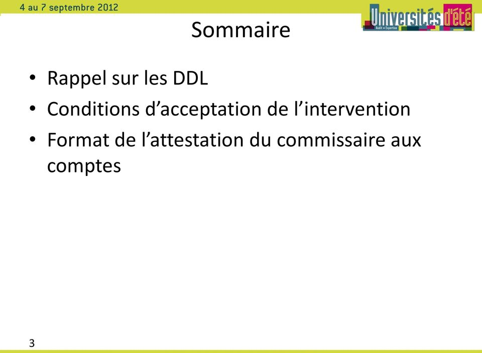 intervention Format de l