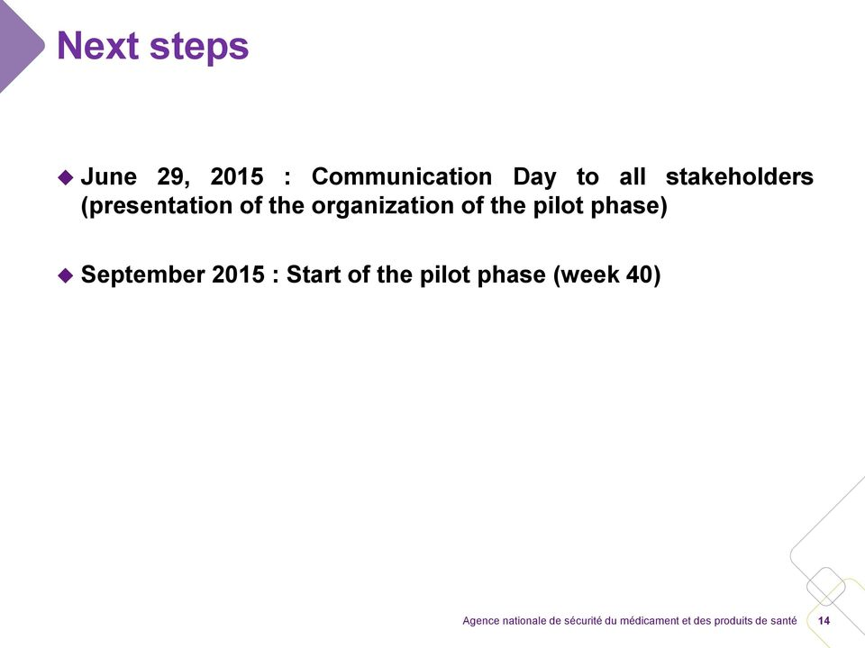 the organization of the pilot phase)