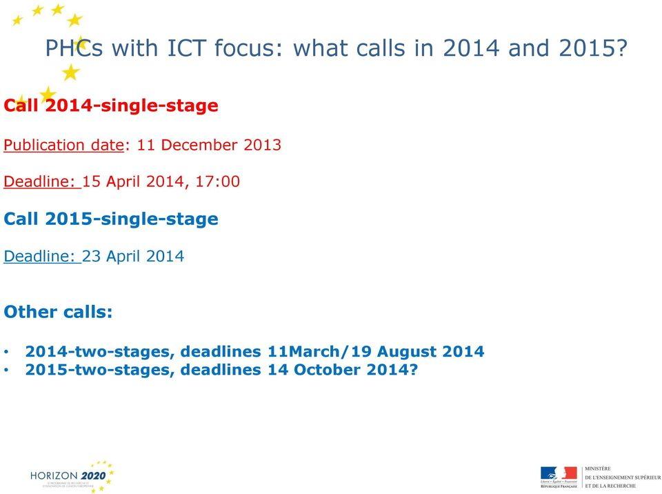 April 2014, 17:00 Call 2015-single-stage Deadline: 23 April 2014 Other