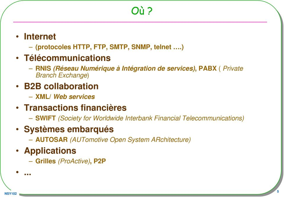 Exchange) B2B collaboration XML/ Web services Transactions financières SWIFT (Society for