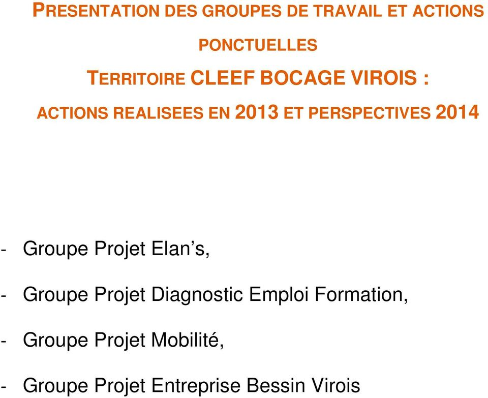PERSPECTIVES 2014 - Groupe Projet Elan s, - Groupe Projet Diagnostic
