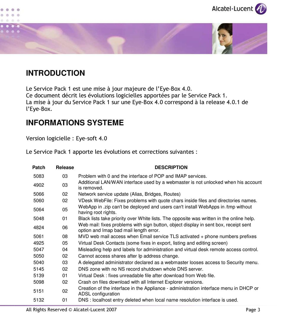 0 Le Service Pack 1 apporte les évolutions et corrections suivantes : Patch Release DESCRIPTION 5083 03 Problem with 0 and the interface of POP and IMAP services.