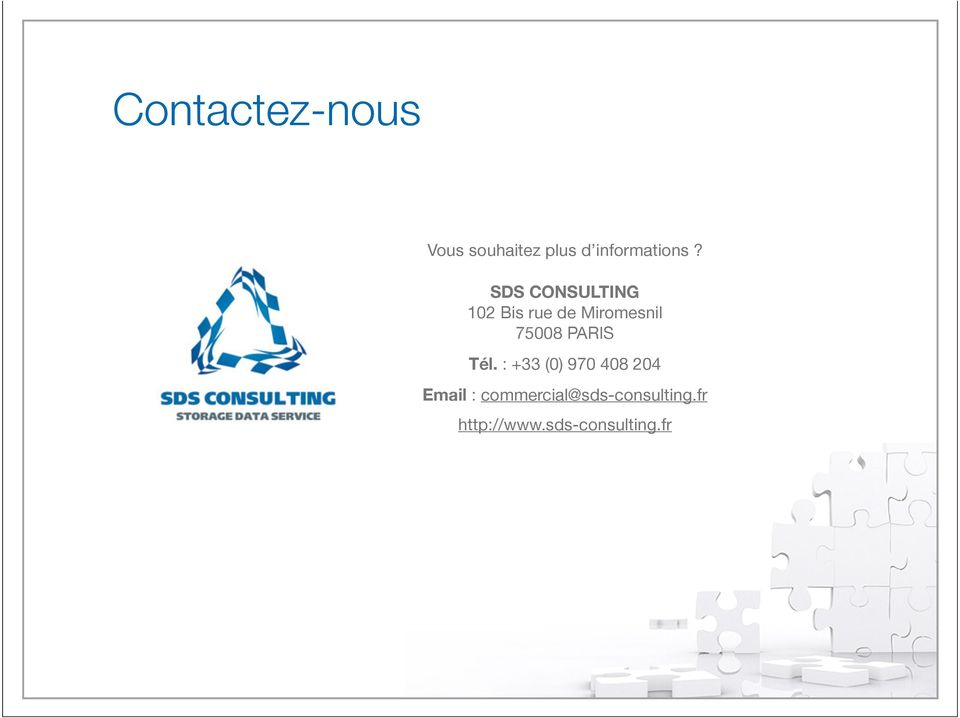 SDS CONSULTING 102 Bis rue de Miromesnil 75008