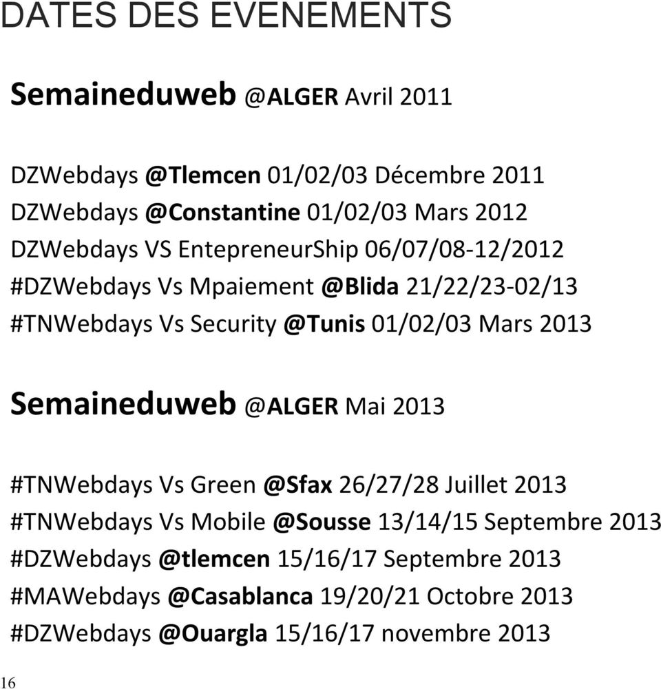 2013 Semaineduweb @ALGER Mai 2013 #TNWebdays Vs Green @Sfax 26/27/28 Juillet 2013 #TNWebdays Vs Mobile @Sousse 13/14/15 Septembre 2013