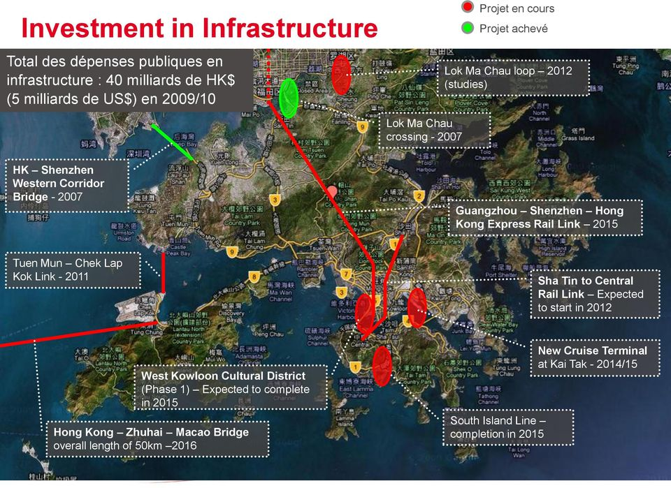 Link 2015 Tuen Mun Chek Lap Kok Link - 2011 Sha Tin to Central Rail Link Expected to start in 2012 West Kowloon Cultural District (Phase 1) Expected to
