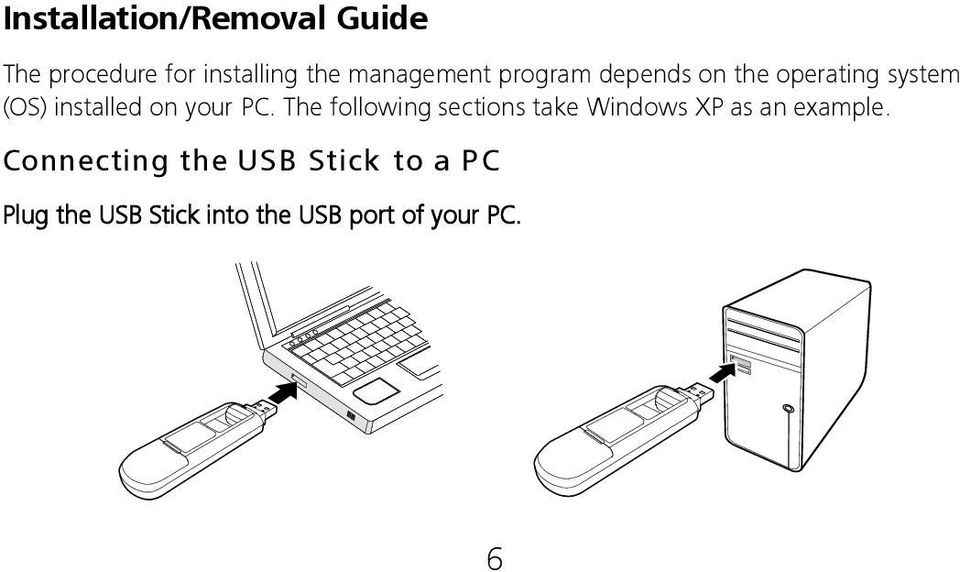 your PC. The following sections take Windows XP as an example.