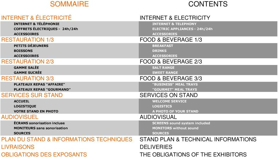 PLAN DU STAND & INFORMATIONS TECHNIQUES LIVRAISONS OBLIGATIONS DES EXPOSANTS INTERNET & TELEPHONY ELECTRIC APPLIANCES - 24h/24h ACCESSORIES FOOD & BEVERAGE 1/3 BREAKFAST DRINKS ACCESSORIES FOOD &