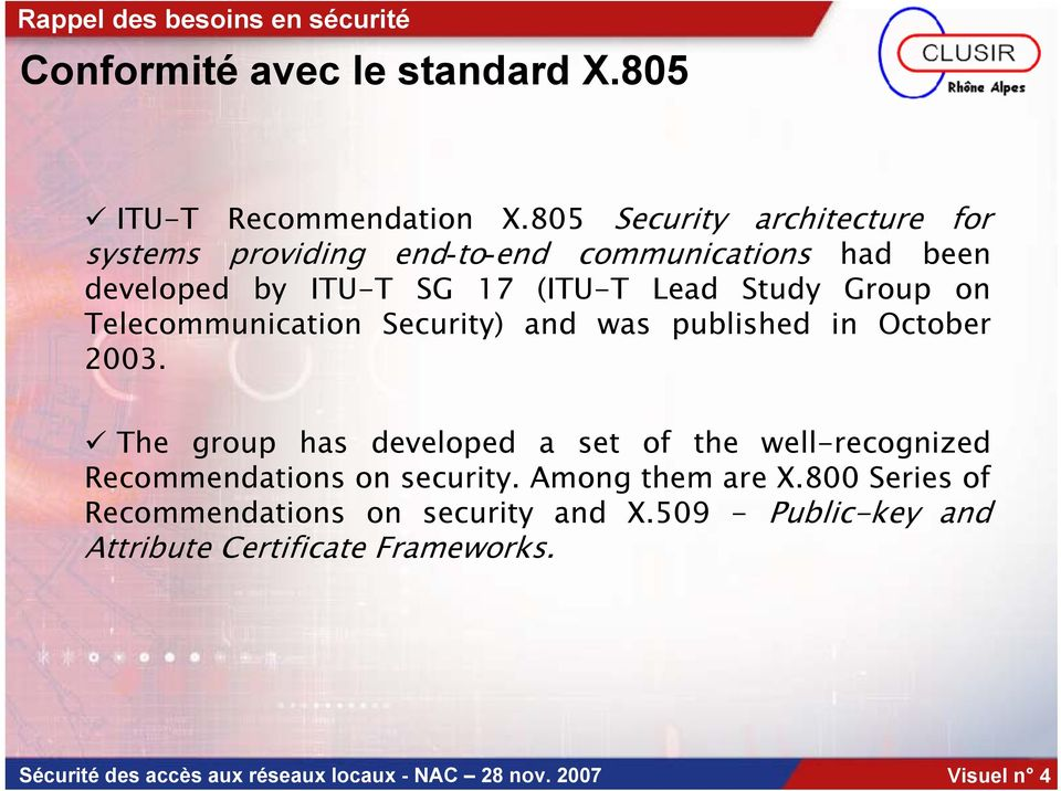 Telecommunication Security) and was published in October 2003.