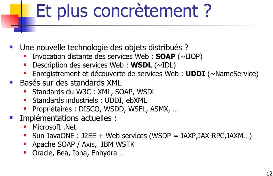 services Web : UDDI (~NameService) Basés sur des standards XML Standards du W3C : XML, SOAP, WSDL Standards industriels : UDDI, ebxml