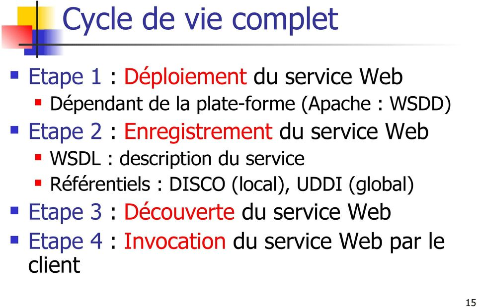 description du service Référentiels : DISCO (local), UDDI (global) Etape 3
