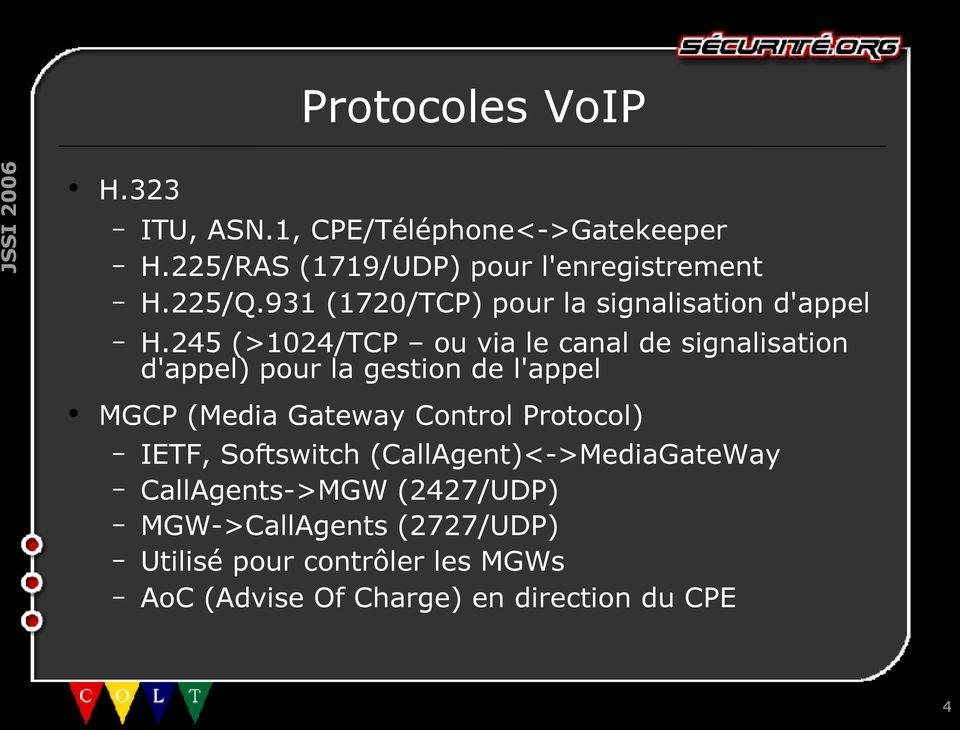 245 (>1024/TCP ou via le canal de signalisation d'appel) pour la gestion de l'appel MGCP (Media Gateway Control