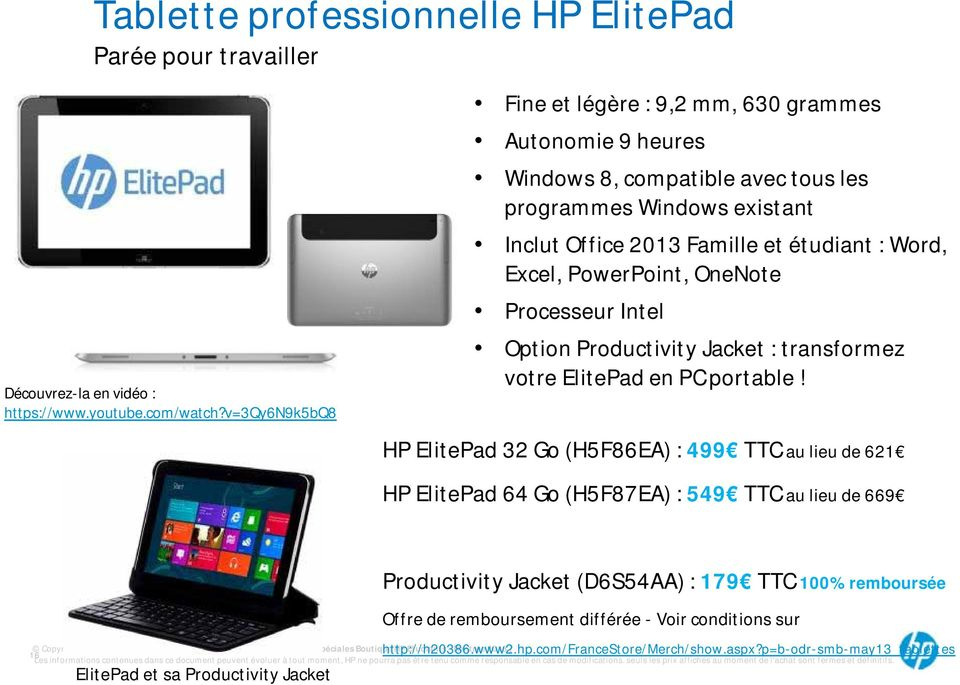 OneNote Processeur Intel Option Productivity Jacket : transformez votre ElitePad en PC portable!