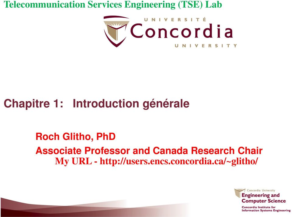 and Canada Research Chair My URL -