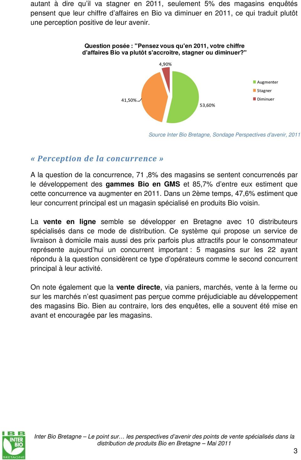 """ 4,9% TR = 4 magasins 4,5% 53,6% Augmenter Stagner Diminuer Source Inter Bio Bretagne, Sondage Perspectives d avenir, «Perception de la concurrence» A la question de la concurrence, 7,8% des"