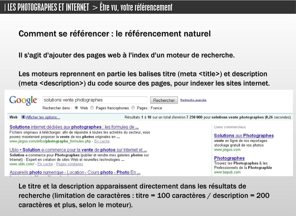 des pages, pour indexer les sites internet.