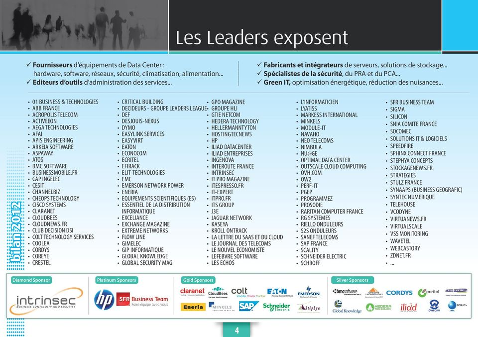 .. bilan 2012 01 BUSINESS & TECHNOLOGIES ABB FRANCE ACROPOLIS TELECOM ACTIVEEON AEGA TECHNOLOGIES AFAI APIS ENGINEERING ARKEIA SOFTWARE ASPAWAY ATOS BMC SOFTWARE BUSINESSMOBILE.