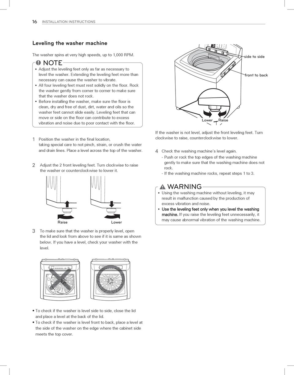 Rock the washer gently from corner to corner to make sure that the washer does not rock.