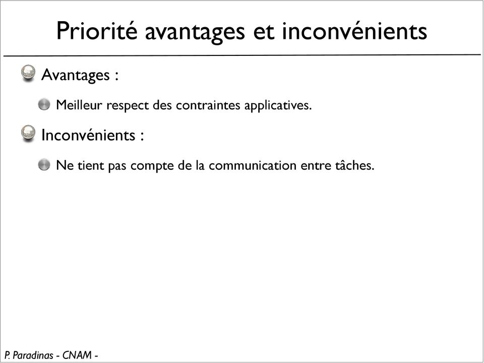 contraintes applicatives.